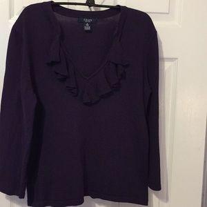 Chaps purple ruffled V-neck sweater